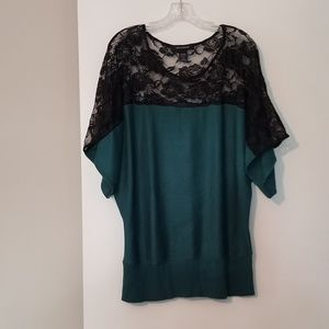 Ashley Stewart Teal Black Lace Sweater Top 18 / 20